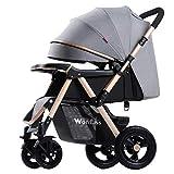 KIVEM Standardkinderwagen, Buggy für Babys von Geburt bis 25 kg, leichte, kompakte, zusammenklappbare Kinderwagen mit Liegeposition, Jogger-Zweiwege-Neugeborenen-Kinderwagen mit Regenschutz,Grey