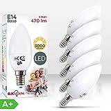 B.K.Licht 5er Set 5W LED-Birnen – Energiesparende Leuchtmittel mit E14 Fassung für drinnen – Ersetzt 40W Halogen-Lampe – Kerzenform – 470 Lumen – 3000K für warmweisses Licht