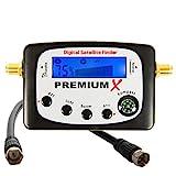PremiumX PXF-22 Digital Sat Finder LCD Display Tonsignal Kompass Satelliten Satellitenfinder Satfinder Messgerät FullHD HDTV 4K