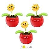 3x Solar Wackelfigur Blume, Blume mit Solar Wackelfunktion, Sonnenblume