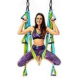 YOGABODY Yoga Trapeze Pro - Yoga Inversionsschaukel mit kostenloser Video-Serie und Posediagramm, Aqua