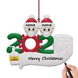 YIIFELL Christbaumschmuck Weihnachtsanhänger DIY Harzbaumschmuck für Weihnachtsdekoration,Familie Von 1,2, 3, 4, 5 Weihnachten 2020 Feiertags Dekorationen DIY Name,Familie von Zwei