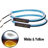 Janedream 2 Stück 60cm Auto LED Streifen Licht Wasserdichter Flexible Tagfahrleuchte DRL Scheinwerfer, Gelb & Weiß