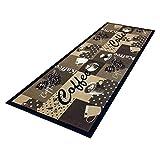 HOMEFACTO:RI Küchenläufer Küchenteppich Teppichläufer Läufer Kaffee Cafe Coffee | waschbar, Größe:ca. 45 x 145 cm, Designs:Kaffee | beige braun