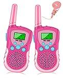 Luclay Walkie Talkies für Kinder 8 Kanal Funkgerät mit Hintergrundbeleuchteter LCD-Taschenlampe, 3 Meilen Reichweite für Abenteuer im Freien und Camping Für Junge Mädchen Spielzeug, 2 Paket (Rosa)
