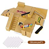 Kidshobby Finger Skateboard Park, 8pcs Skate Park Kit Ramp Parts, Mini Fingerboard Rails Starter Kit with 3 fingerboards & 5 Silicone Mat Set.