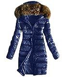 LOBTY Damen Winterjacke Wintermantel Lange Daunenjacke Jacke Outwear Frauen Winter Warm Daunenmantel Mit Kapuze Pelzkragen Mantel Steppjacke mit Gürtel Long Coat