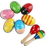 6 Stück Ei Maracas und 2 Stück Holz-Maraca, Farbig Holz Rassel Sand Hammer Ei Shakers Music Percussion Spielzeug für Kinder Kleinkind Babies