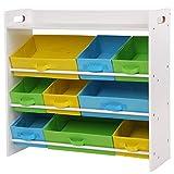 SONGMICS Kinderzimmerregal, Spielzeug-Organizer mit 9 herausnehmbaren Vlieskörben, Spielzeug- und Bücherregal fürs Kinderzimmer, Weißer Rahmen, GKR31WT
