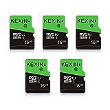 KEXIN 16GB Micro SD Karte 5 Stück UHS-I MicroSDHC Speicherkarte bis zu 80 MB/s (Class 10 U1 C10) Memory Karte SD Card für Kameras, Tablets und Android Smartphones Sicherheitssystem(Schwarz Grün)
