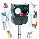 TLICLXY Cat Repeller Solar Ultraschall Animal Repeller Fox Abschreckungsmittel für Gärten Eichhörnchen abweisend Wiederaufladbare Wasserdicht Im Freien Einstellbare Frequenz (Alarmton)