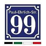 Hausnummernschild Hausnummer Straßenname in Emaille Design Alt evtl. mit Abstandhalter