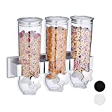 Relaxdays Müslispender, Dreifach, Wandmontage, Cornflakes & Süßigkeiten, HBT 32 x 40 x 14,5 cm, Cerealienspender, silber