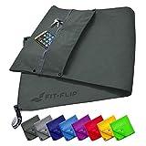 Fit-Flip Fitness Handtuch Set mit Reißverschluss Fach + Magnetclip + extra Sporthandtuch | zum Patent angemeldetes Multifunktionshandtuch, Mikrofaser Handtuch - Dunkelgrau