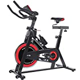 ISE Profi Indoor Cycle Ergometer Heimtrainer mit Pulsmesser, LCD Anzeige,Armauflage,Gepolsterte Fitnessbike Speedbike mit flüsterleise Riemenantrieb-Fahrrad bis150Kg,18kg Schwungrad