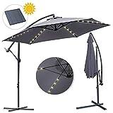wolketon Alu Ampelschirm Ø 350cm mit Solar LED Warmweiß Beleuchtung UV 30+ Wasserabweisende Bespannung - Sonnenschirm Schirm Gartenschirm Marktschirm Kurbelschirm