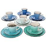 MamboCat 18-teiliges Kaffee-Service Blue Baita Curacao I Kaffee-Geschirr-Set f. 6 Personen - handbemalt I Porzellan-Geschirr mit je 6x Tassen - Unterteller - Kuchenteller I Kaffee-Set bunt 18 Teile