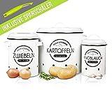 LOFTASTIC® Vorratsbehälter Set inkl. Sparschäler - Perfekt als Kartoffeltopf, Knoblauchtopf und Zwiebeltopf - Die stilvollste Art für noch länger frisches Gemüse