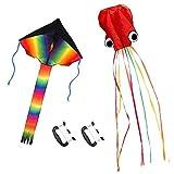 ZoomSky 2Stk Kinder Drachen,Große Bunt Delta Einleiner Flugdrachen und Rote Oktopus Winddrachen mit Drachenschnur für Mädchen Jungen ab 3 Jahre