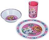 POS Handels GmbH 29244088 - Frühstücksset mit Paw Patrol Motiv, 3 teiliges Geschirrset für Kinder bestehend aus Teller, Schale und Becher, stabiles ... bpa- und phthalatfrei, spülmaschinengeeignet