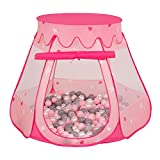 Selonis Baby Spielzelt Mit Plastikbällen Zelt 105X90cm/100 Bälle Plastikkugel Kinder, Pink:Perle-Grau-Transparent-Puderrosa