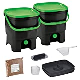 Skaza Bokashi Organko Set (2 x 16 L) 2X Garten- und Küchenkomposter aus Recyceltem Kunststoff | Starterset mit EM Fermentationsaktivator 1 kg (Schwarz-Grün)