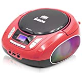 Lauson NXT962 Tragbarer CD-Player, LED-Discolichter, CD-Radio, Boombox, CD Player für Kinder, kinderradio mit cd und USB, Stereoanlage, LCD-Display, Netz & Batterie, Rot