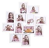 SONGMICS Bilderrahmen-Collage, für 12 Fotos in 4 x 6″ (10 x 15 cm), Montage erforderlich, Fotocollage, Fotorahmen, für mehrere Fotos, mit Glasscheibe, weiß RPF22WT