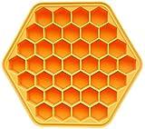 hwljxn Eisschale Formen, 37 Grids Boneycomb Food Grade Silikon Eiswürfelform mit Deckel, orangefarbene Eiswürfelform für Bars Restaurants Partys