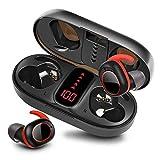 bakibo Kopfhörer Kabellos Bluetooth 5.1, Wireless Sport Kopfhörer mit Mikrofon in-Ear Stereo Sound Ipx7 Ohrhöre mit 800mAh LCD Ladetasche, 40 Stunden Spielzeit, Auto Pairing TWS, Berührungssteuerung