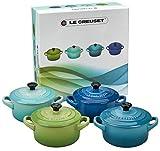 Le Creuset Mini-Cocotte/ Bräter-Set, 4-teilig, Rund, Je 200 ml, 10 x 5 cm, Steinzeug, Grün/Türkis/Blau/Dunkelblau