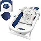 Primabobo My Toy klappbare Badewanne für Babys im Alter von 0-36 Monaten, Neugeborenenwanne mit rutschfesten Füßen, Ergonomischem Kissen und abnehmbarem Spielzeug, Einfach zu verstauen, Dunkelblau