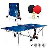 YM Tischtennis-Tisch, zusammenklappbar, für den Innen- und Außenbereich, inklusive Kugeln, offizielle Größe 274 x 152 x 76 cm, mit Doppel-Multi-Security-Verschlusssystem