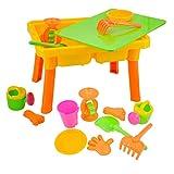 deAO Grundlegender Sand- und Wassertisch mit Deckel für Kleinkinder inklusive verschiedenem Zubehör