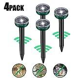 Viccioo 4 Stück Solar Maulwurfabwehr, Ultrasonic LED Maulwurfschreck, Wühlmausvertreiber, Wühlmausschreck, Maulwurfbekämpfung mit IP56 für Den Garten