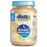 Alete Bio Gläschen Abendbrei Grießbrei Vanille, Babynahrung in Bio-Qualität, ohne Palmöl & Zuckerzusatz, ab dem 6. Monat, 6er Pack (6 x 190 g)