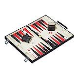 Relaxdays Backgammon Koffer, hochwertiges Set, inklusive komplettem Zubehör, Tavla Brettspiel, B x T 47 x 36 cm, schwarz
