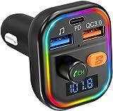 VicTsing FM Transmitter Auto Bluetooth, PD 18W & QC 3.0 Schnellladung, Deep Bass Bluetooth Adapter Auto mit 9 LED Farblicht, KFZ MP3 Player Kit Unterstützt 64GB USB-Stick TF Karte, Siri