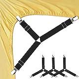 Verstellbare Bettlakenspanner Elastische Betttuchspanner Lakenspanner mit Metallclips schwarz (4 stück)