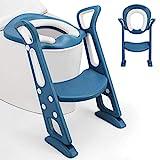 Fascol Toilettentrainer mit Treppe, Töpfchentrainer Faltbar und Tragbar, Töpfchen für Kinder von 1 bis 8 Jahre Höhenverstellbar Toilettensitz für Toiletten 38-42cm, Blau
