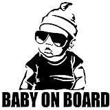 EROSPA Auto-Aufkleber Baby On Board - Boy mit Sonnenbrille - Car-Sticker Baby (Schwarz)