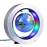 ZJchao Globe, schwebend globus, Magnetische Levitation Globe 4 '' Circular Frame Schwimmende Rotating Levitating Globe O Form Anti-Gravity Bunte LED Weltkarte für Home Dekor Fashion Crafts Geschenke