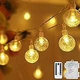 Lichterkette LED Lichterkette Warmweiß 5m 50LED Kristall Kugeln Lichterkette Batterie mit Fernbedienung 8 Modi Wasserdicht Außen Innen Weihnachten Lichterketten für Zimmer Party Garten DIY Deko Metaku