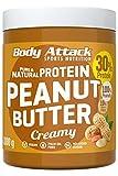Body Attack Protein Peanut Butter, 1kg, Creamy, Vegan, Natürliche Erdnussbutter ohne Zucker, Salz & Palmfett - Low Carb Erdnussmus mit 30% Protein
