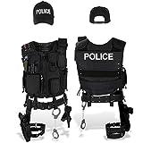 Black Snake SWAT FBI Police Security Kostüm inkl. Einsatzweste, Pistolenholster, Handschellen und Baseball Cap - XL/XXL - Police