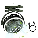OUTXE Camping Ventilator mit Licht 6700mAh Zelte Ventilator USB Ventilator mit Wiederaufladbarer Batterie Grün