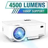 HOPVISION Mini Beamer 1080P Full HD,4500 Lumen Video Beamer mit Maximalem 180'' Display, 60000 Stunden Lampenlebensdauer, Heimkino Beamer Kompatibel mit HDMI/AV/USB/SD/VGA
