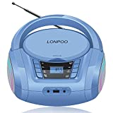 LONPOO Tragbare CD Player für Kinder Bluetooth CD Boombox mit UKW-Radio & USB Eingang, 2 x 2Watt RMS Stereoanlage (D03)