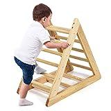 GOPLUS Kinder Kletterdreieck, Dreieck Klettergerüst aus Holz, Kletterdreieck Dreiseitig Verfügbar, Robuster Dreiecksständer für Kinder ab 3 Jahren, für Zuhause & Außenbereich, 93x46x81cm
