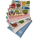 N A 7 Stück Baumwollstoff 100% Baumwolle Nähstoffe mit verschiedenen Muster Patchwork DIY Stoffpaket 46x56cm Zugeschnittene Stoff Quadrate zum Nähen Handwerk Deko Eule